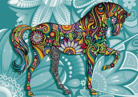 Wallpaper mural - easy install Horse Flowers Abstract Colours 3265VEXXL